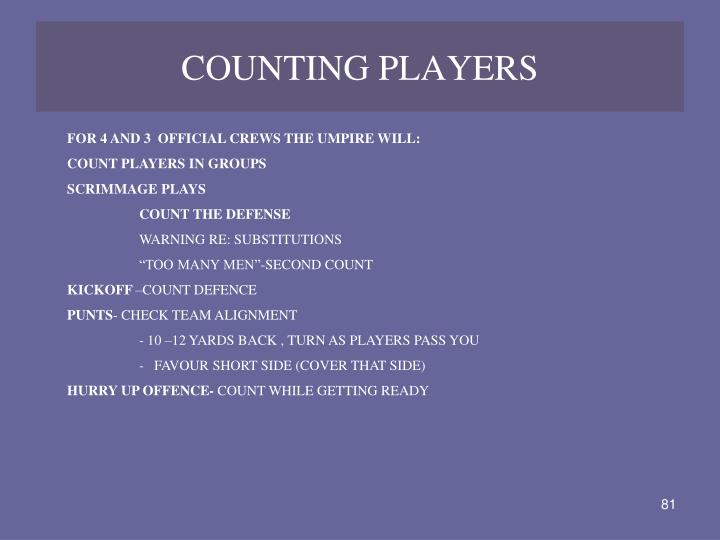 COUNTING PLAYERS