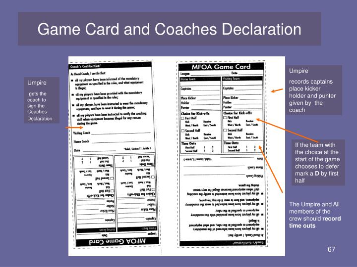 Game Card and Coaches Declaration