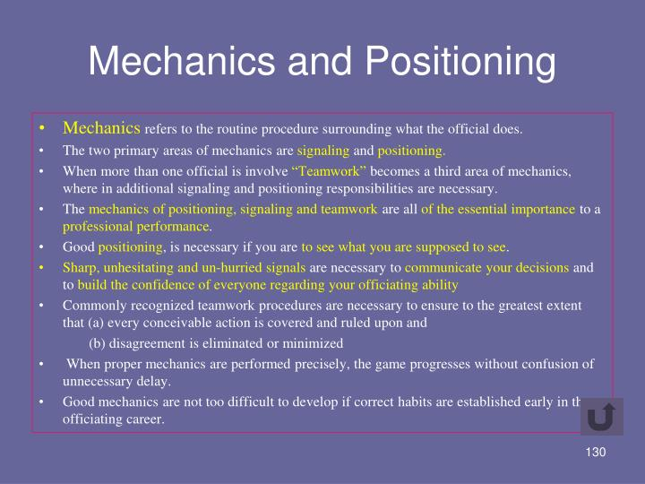 Mechanics and Positioning