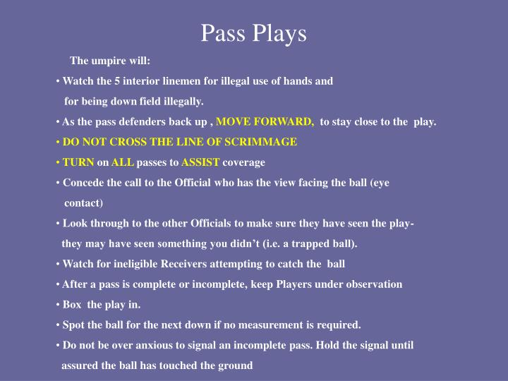 Pass Plays