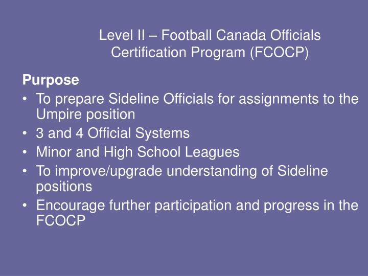 Level II – Football Canada Officials Certification Program (FCOCP)