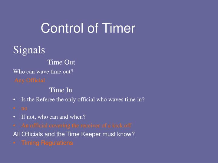Control of Timer