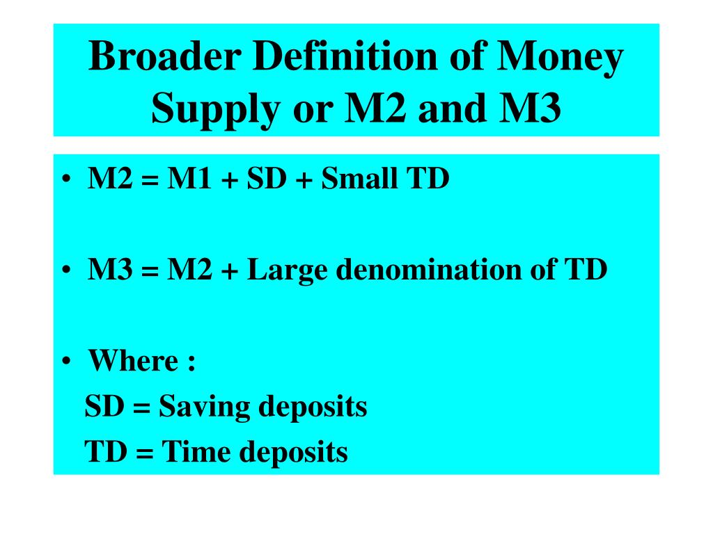 Broader Definition of Money Supply or M2 and M3