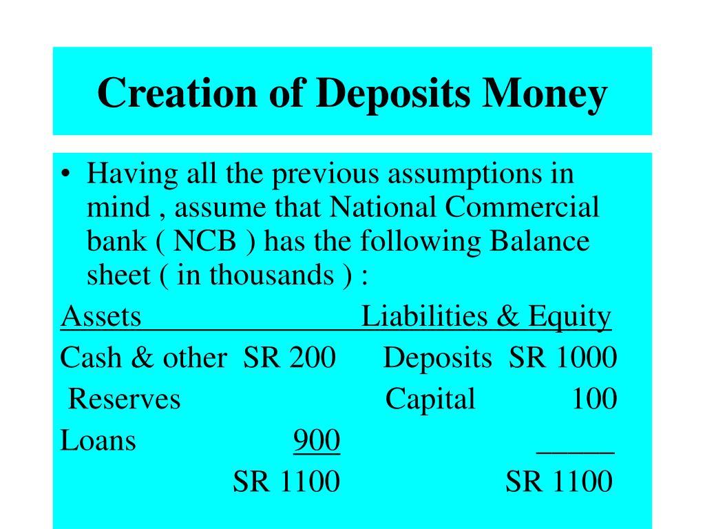 Creation of Deposits Money