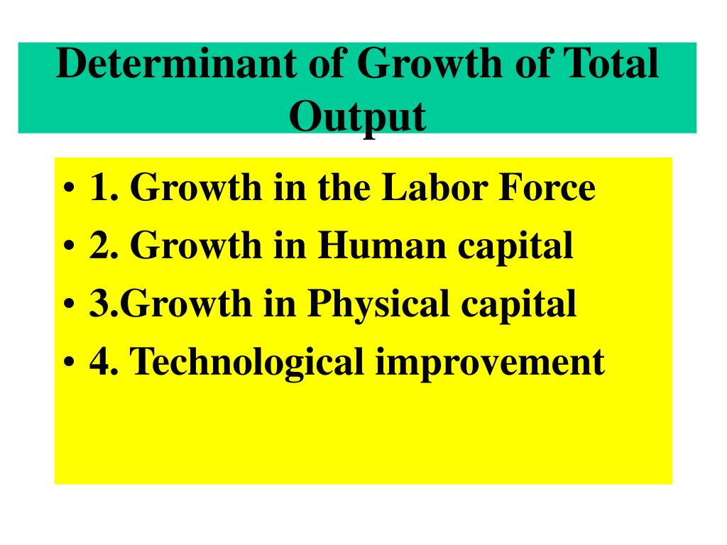 Determinant of Growth of Total Output
