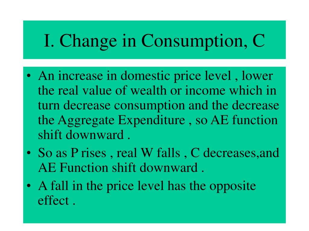 I. Change in Consumption, C