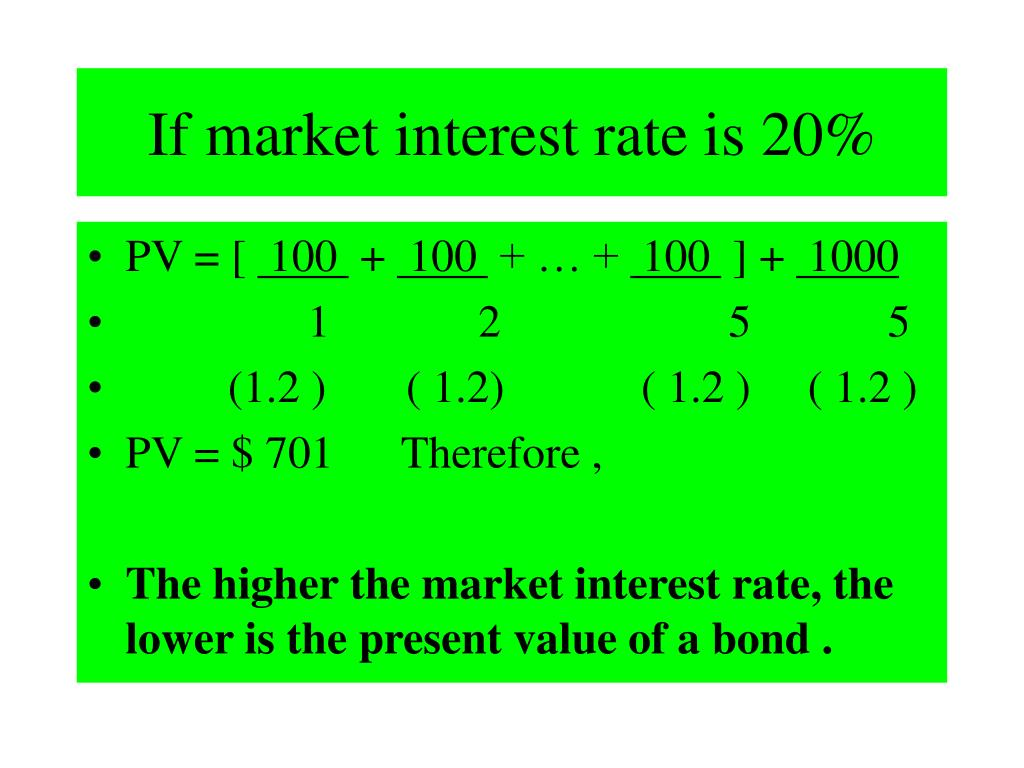 If market interest rate is 20%
