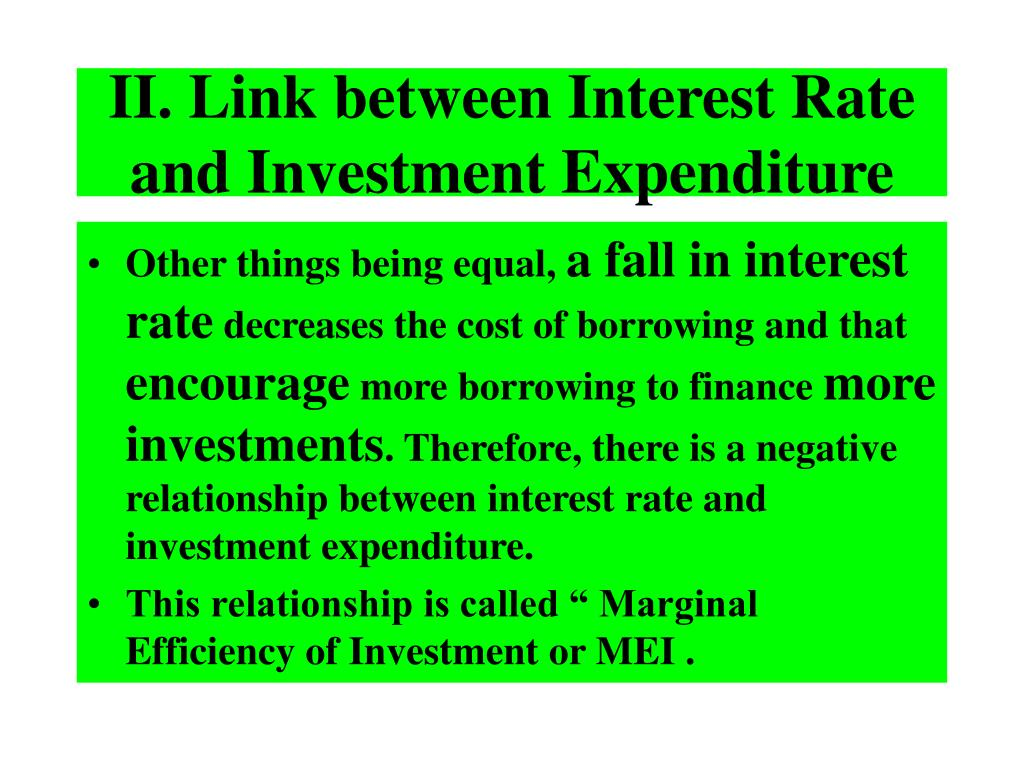 II. Link between Interest Rate and Investment Expenditure