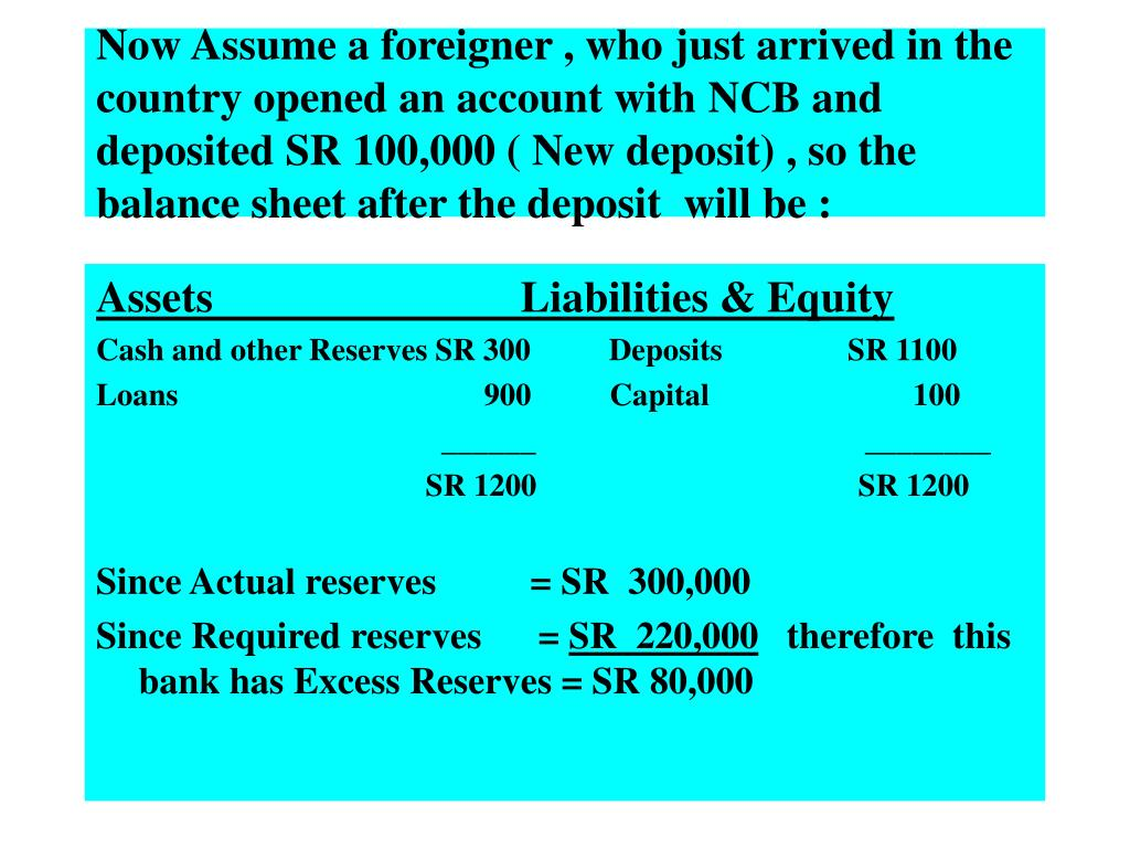 Now Assume a foreigner , who just arrived in the country opened an account with NCB and deposited SR 100,000 ( New deposit) , so the balance sheet after the deposit  will be :