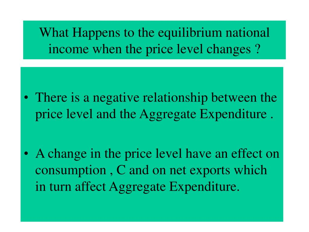 What Happens to the equilibrium national income when the price level changes ?