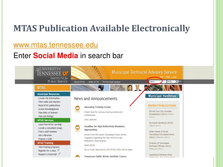 MTAS Publication Available Electronically