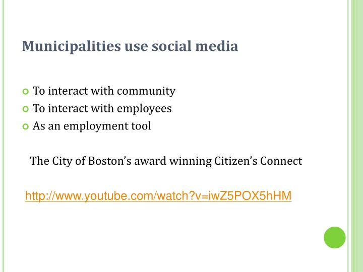 Municipalities use social media