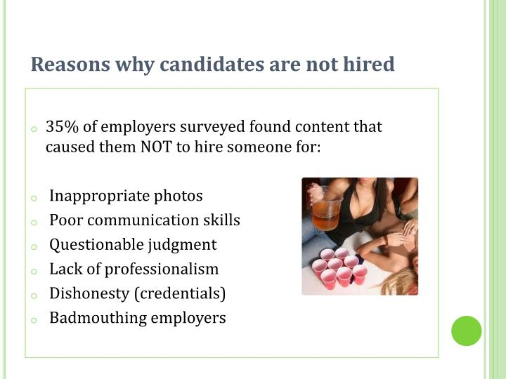 Reasons why candidates are not hired