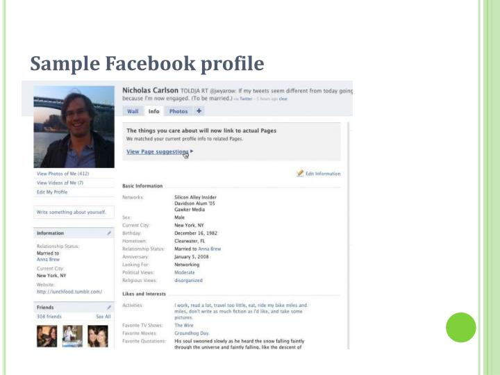 Sample Facebook profile