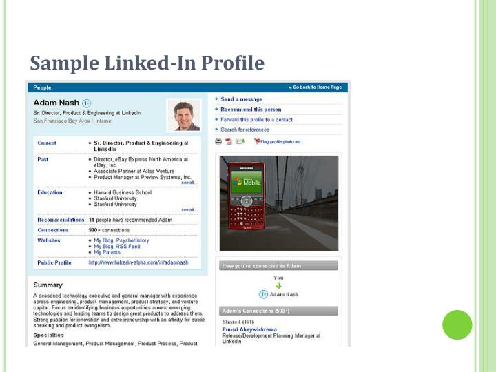 Sample Linked-In Profile