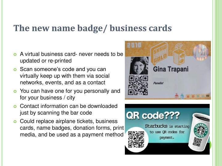 The new name badge/ business cards
