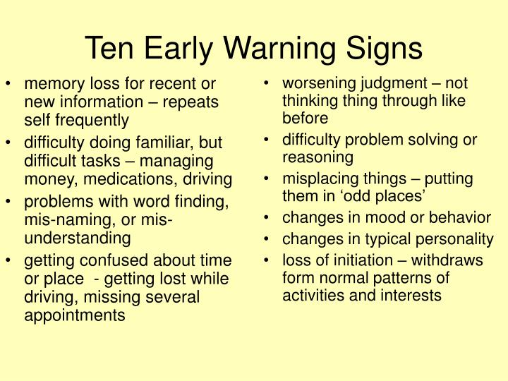 Ten Early Warning Signs