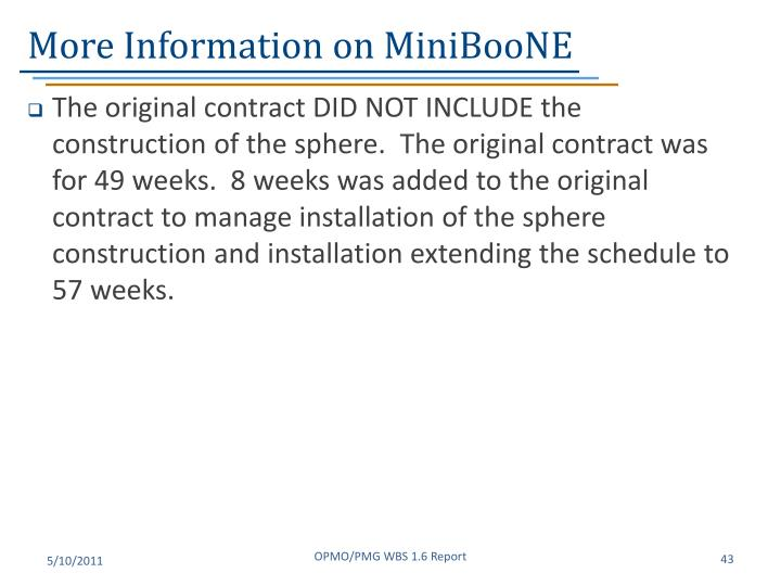 More Information on MiniBooNE