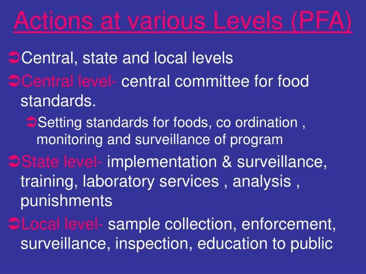 Actions at various Levels (PFA)
