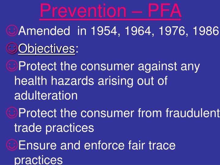 Prevention – PFA