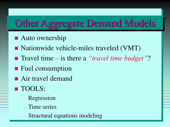 Other Aggregate Demand Models