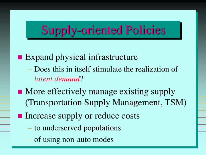 Supply-oriented Policies