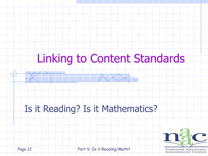 Linking to Content Standards