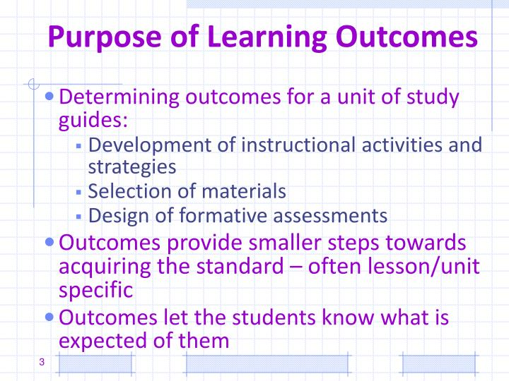 Purpose of learning outcomes