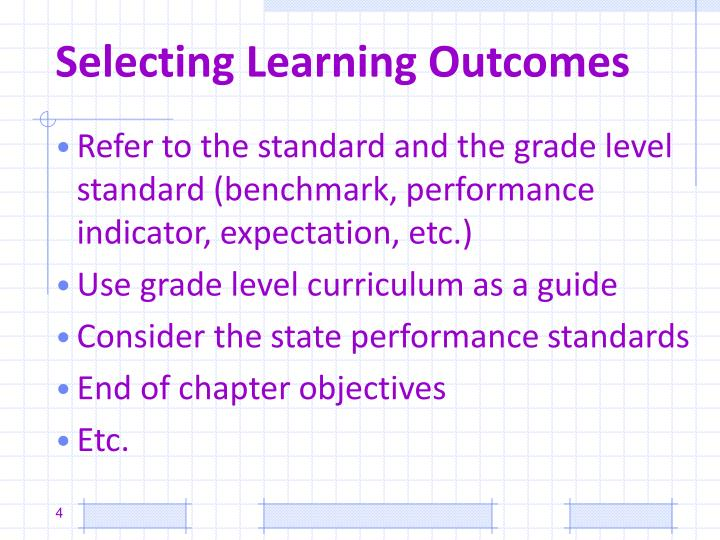 Selecting Learning Outcomes