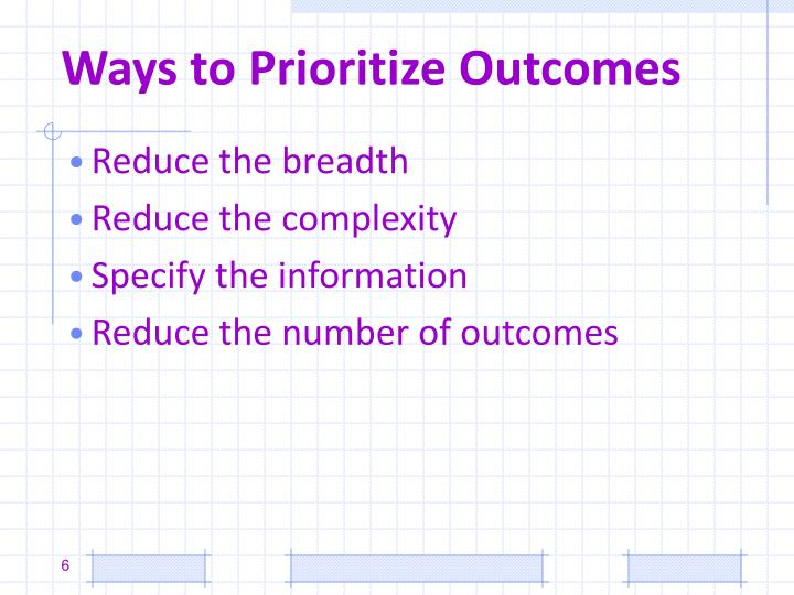 Ways to Prioritize Outcomes
