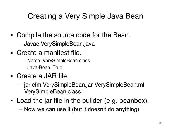 Creating a Very Simple Java Bean