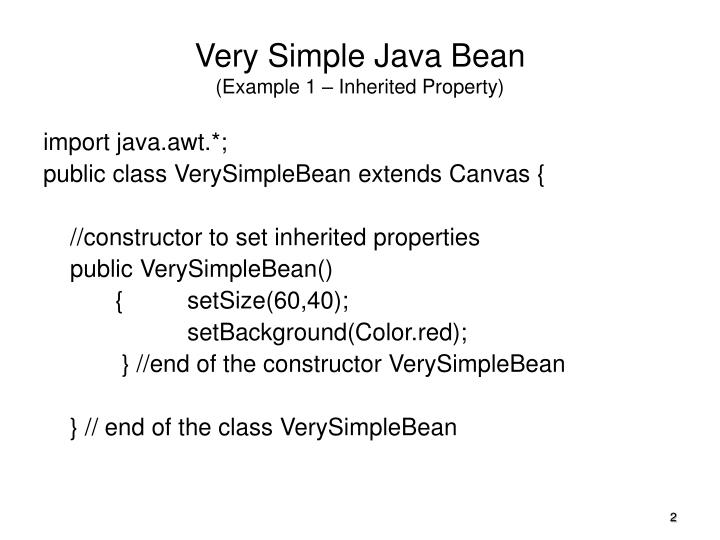 Very simple java bean example 1 inherited property