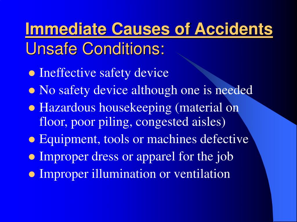 Immediate Causes of Accidents