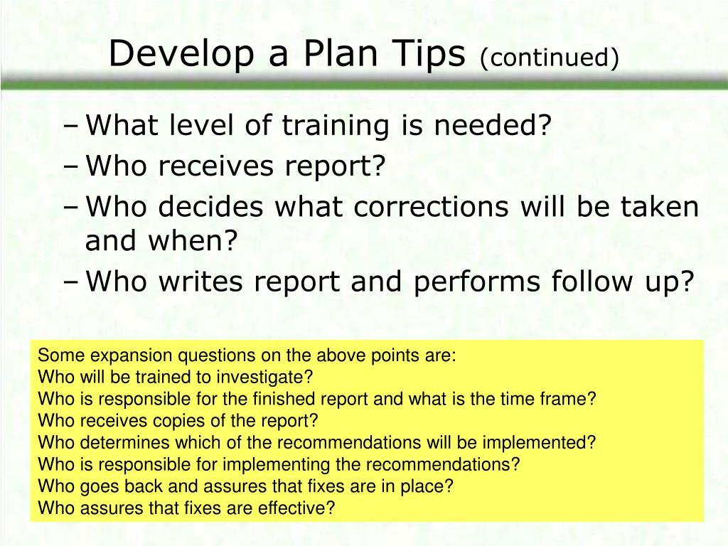 Develop a Plan Tips