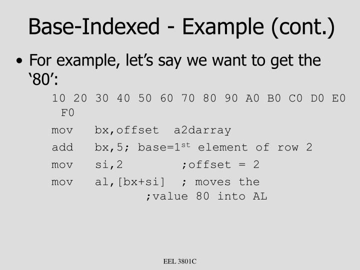 Base-Indexed - Example (cont.)