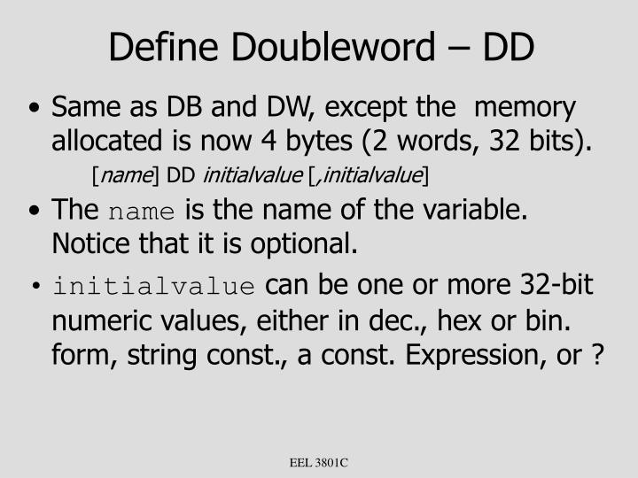 Define Doubleword – DD