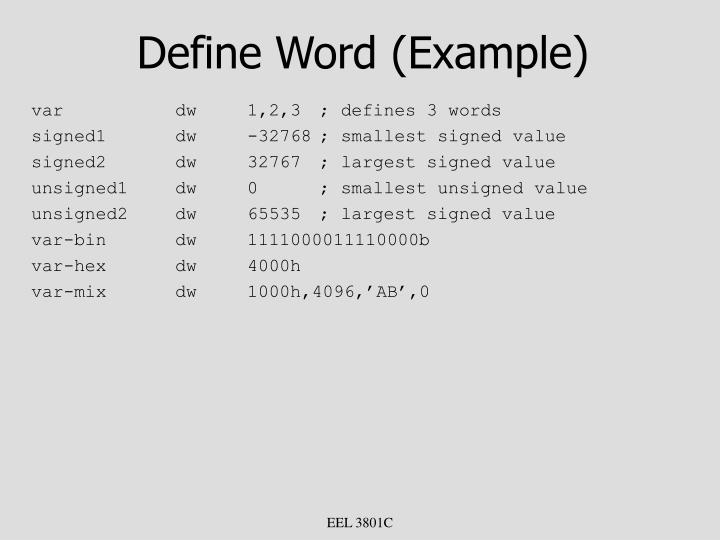 Define Word (Example)