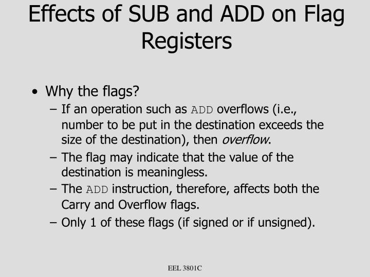 Effects of SUB and ADD on Flag Registers