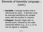 elements of assembly language cont