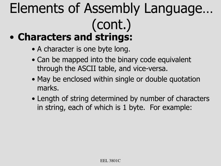 Elements of Assembly Language… (cont.)