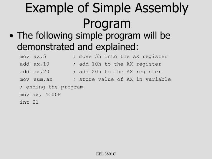 Example of Simple Assembly Program