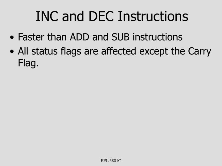 INC and DEC Instructions
