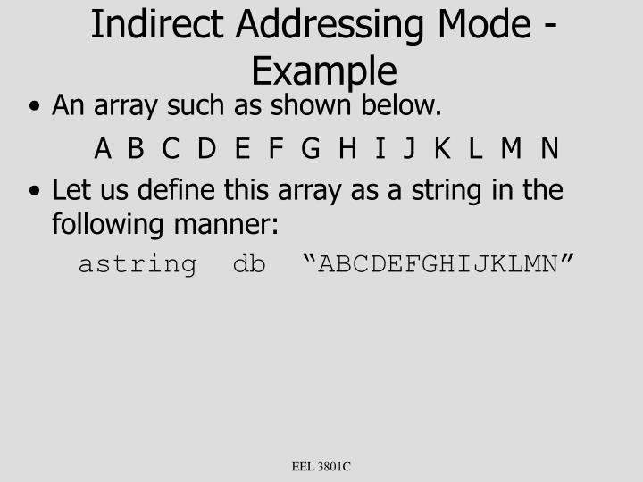 Indirect Addressing Mode - Example