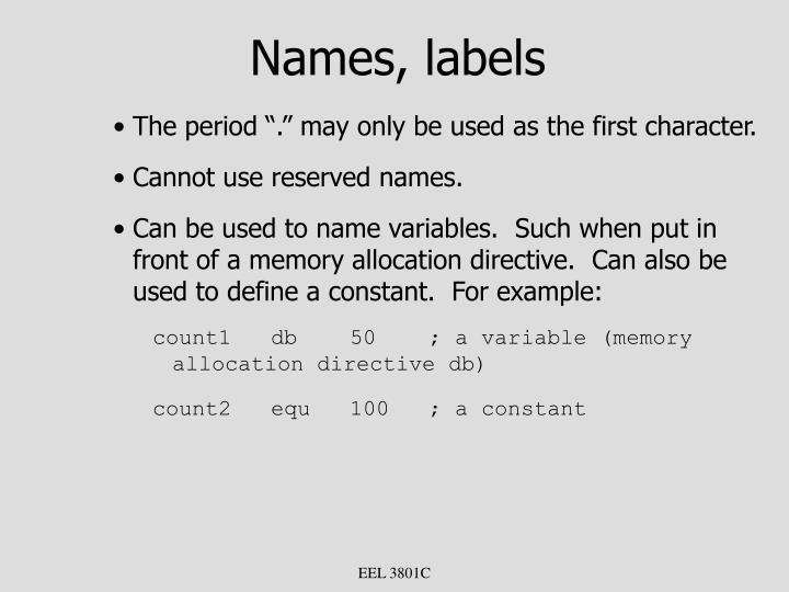 Names, labels