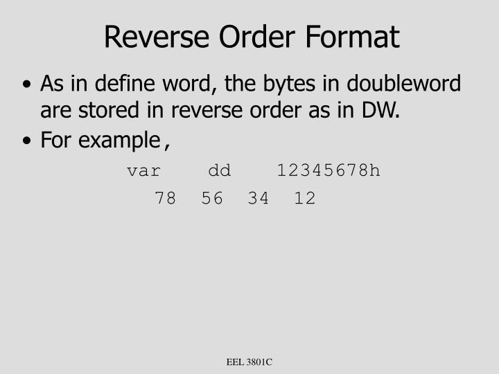 Reverse Order Format