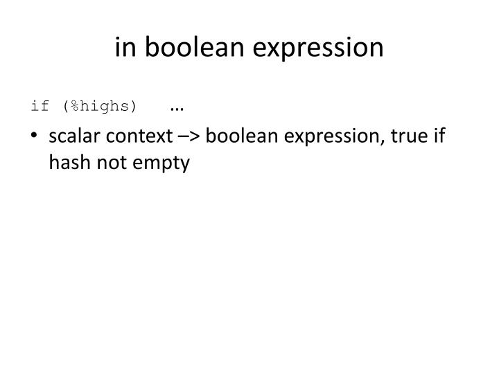 in boolean expression