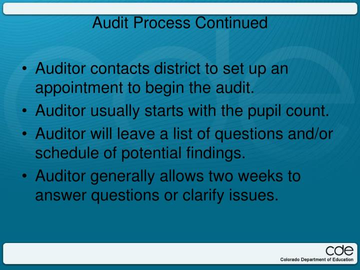 Auditor contacts district to set up an appointment to begin the audit.