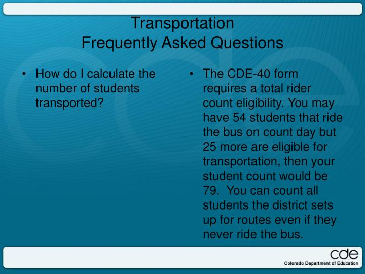 How do I calculate the number of students transported?
