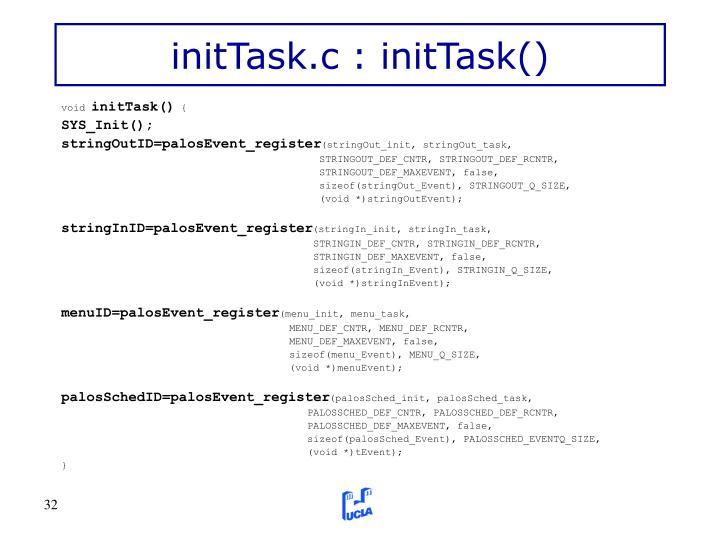 initTask.c : initTask()