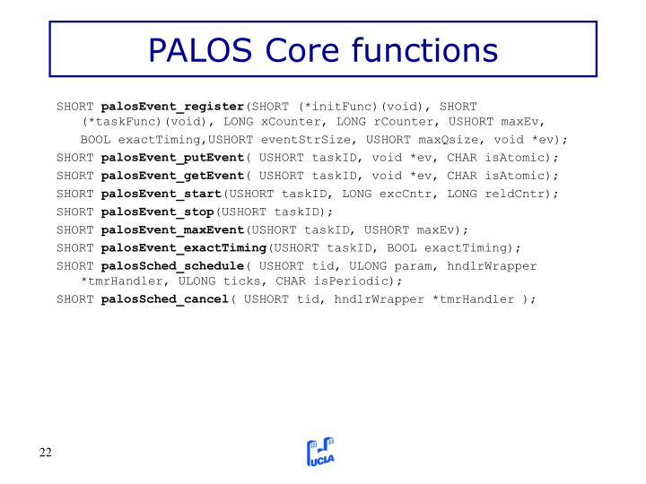PALOS Core functions